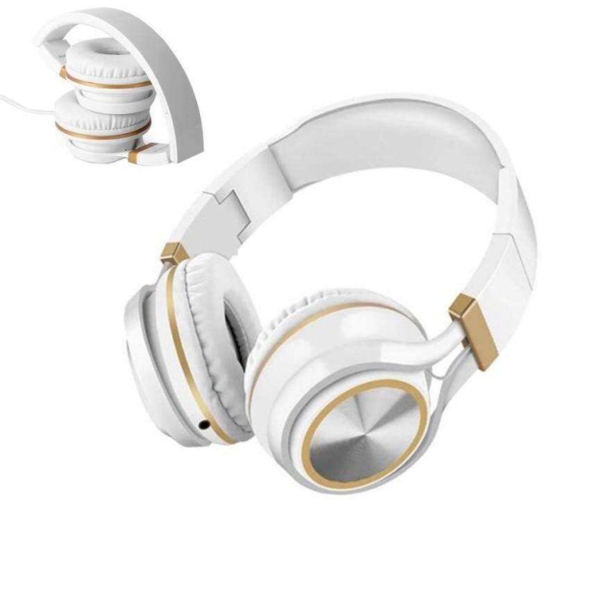 Miimall Foldable Headphone Over Ear Berat Bass Telepon Kepala Stereo Headset Kabel Lapisan Lembut dengan MIC