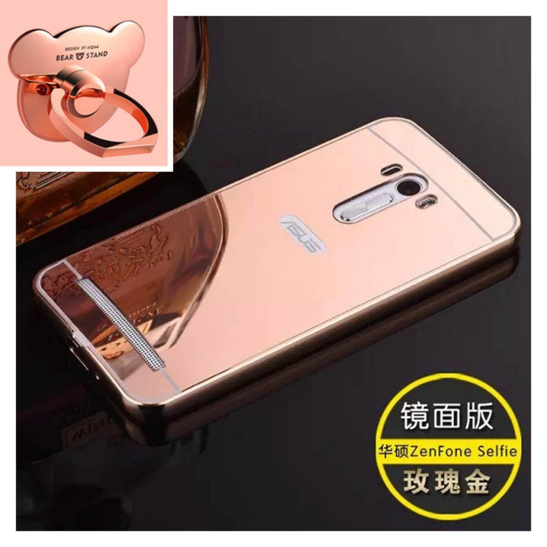 Case Aluminium Bumper Mirror For Asus Zenfone 2 55inch Hitam Gratis Alumunium 55 Selfie Zd551kl Metal Frame With Bear Ring Phone