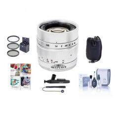 Mitakon Zhongyi Speedmaster 35mm f/0.95 Mark II Lens for Sony E Mirrorless Cameras Silver - Bundle With 55mm Fliter Kit, Lens Pouch, Cleaning Kit, Capleash, Lens Pen Lens Cleaner, PC Software Package