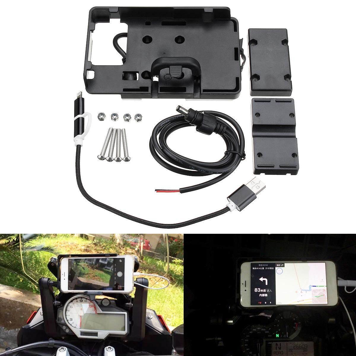 Ponsel GPS Navigation Braket Penahan USB Pengisian untuk BMW S1000R R1200GS Hitam-Internasional