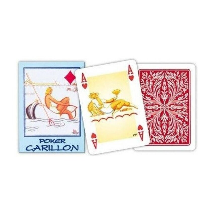 Modiano: Poker Carillon\x9D Plasticized Italian Playing Cards. RedBack * Deck of 54 Cards * [ Italian Import ] - intl