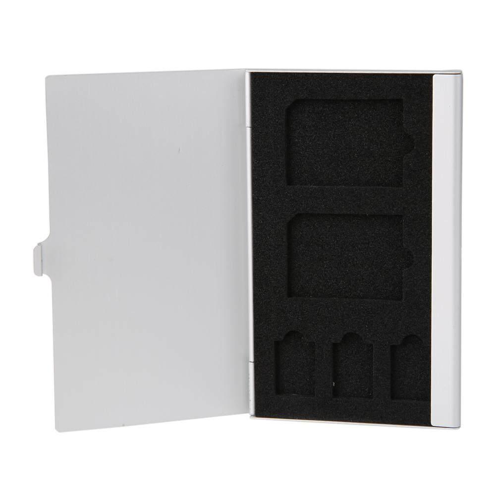 Monolayer Aluminum 2 SD+ 3TF Micro SD Cards Pin Storagebox (Silver)