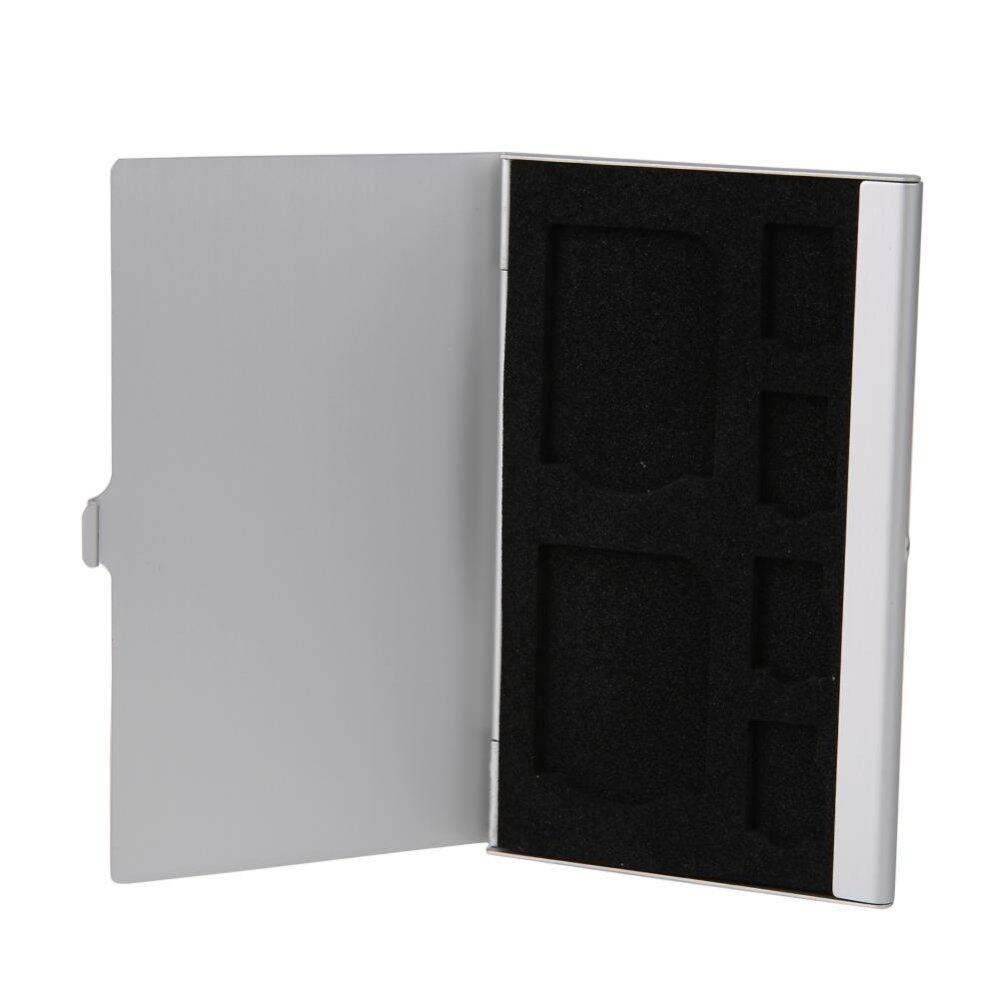 Monolayer Aluminum 2 SD+ 4TF Micro SD Cards Pin StorageBox Case Holder (Silver)