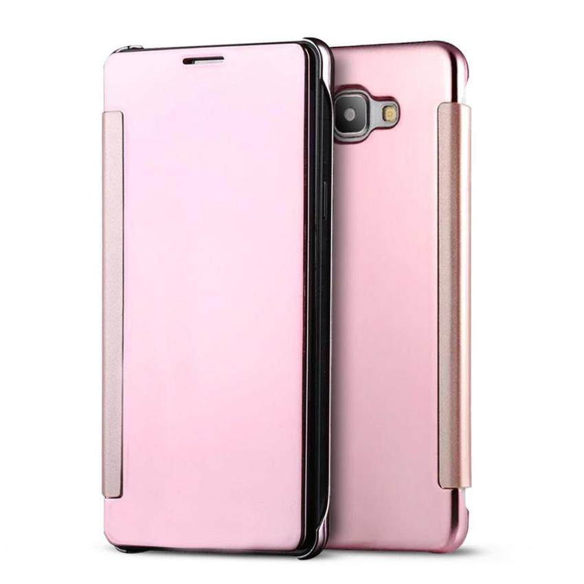 Mooncase Case For Samsung Galaxy C9 Pro Flip Specular MirrorProtective Cover Case with Smart Sleep Rose Gold
