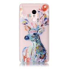 Moonmini Sarung untuk Xiaomi Redmi Note 4 Cahaya Neon Efek Bercahaya Lembut Case-Deer