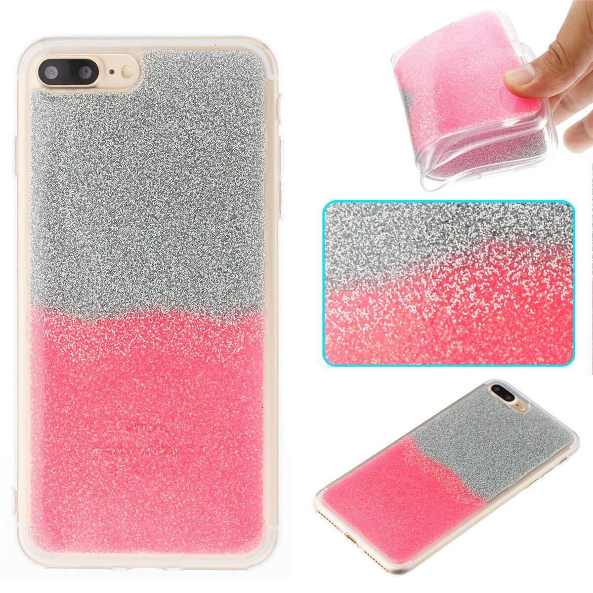 Moonmini untuk iPhone 7 Plus/Iphone 8 PLUS Dual Rambut Palsu Gradien TPU Casing Ponsel Modis Pelindung Penutup Belakang (Emas)