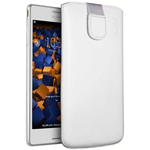 Mumbi Echt Ledertasche F? R Sony Xperia M4 Aqua Tasche Leder Etui Weiss (Lasche MIT R? ckzugfunktion Ausziehhilfe)-Intl