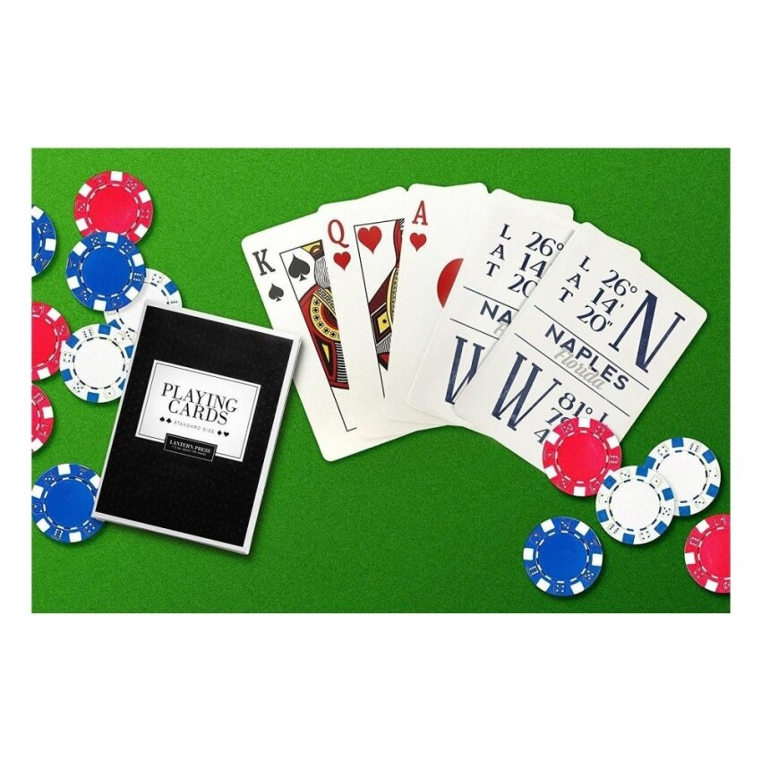 Naples. Florida - Latitude and Longitude (Blue) (Playing Card Deck- 52 Card Poker Size with Jokers) - intl