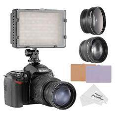Neewer 160 LED CN-160 LED Video Light Kit for Canon, Nikon, Pentax, Panasonic,SONY, Samsung and Olympus Digital SLR Cameras, includes (1) CN-160 Dimmable Ultra High Power Panel Video Light + (1) 52mm 0.45X Wide Angle Lens + (1) 52mm 2X Telephoto Lens