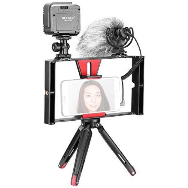 Neewer 4 In 1 Smartphone Pembuatan Film Rekaman Vlog Set Rig :( 1) Genggam Rig; (1) 36 Lampu LED; (1) Mikrofon; (1) mini Atas Meja Tripod untuk iPhone X/8/7 Plus/7 Samsung dan Lain-Lain Dalam Waktu 7-Inci Layar ponsel-Intl