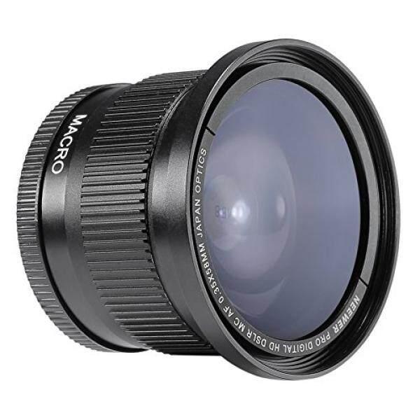Neewer 58 Mm 0.35X Super Mata Ikan Sudut Lebar Lensa dengan Penutup Lensa untuk Canon Pemberontak T5i, T4i, T3, t3i, T2i, T1i, Xti, Xt, XSI, XS, SL1, Canon EOS 1100D, 1000D, 700D, 650D, 600D, 550D, 500D, 450D, 400D, 300D, 100D Kamera DSLR-Intl