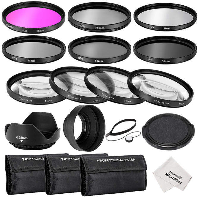 Neewer 58 Mm Lengkap Filter Lensa Aksesori Perlengkapan untuk Canon EOS REBEL700D 650D 600D 550D (T5i T4i T3i T2i)