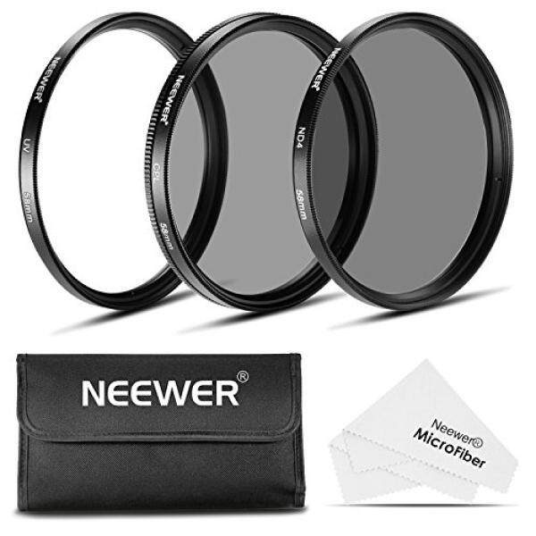 Neewer 58 Mm Filter Lensa Kit: Filter UV + Filter CPL + ND4 Filter + Filter Kantong + Kain Pembersih untuk Canon Pemberontak EOS (70D, 700D, 650D, 600D, 550D, 500D, 1100D, 100D) Kamera: 18-55 Mm EF-S IS STM Lensa Variabel-Intl