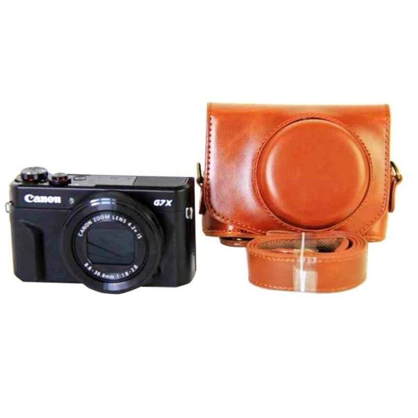 Baru Modis Tas Kamera Tas untuk Canon PowerShot G7X Menandai 2 G7XIIG7X2 Kamera Digital PU Kulit Kamera Sarung + Tali (Cokelat) sheng HOTT 655-Internasional