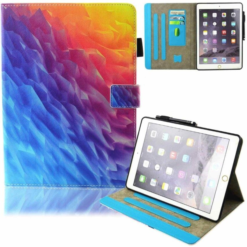 Review New Ipad 9 7 Inch 2017 Ipad Air 2 Ipad Air Case Synthetic Leather Stand Smart Shell Case With Auto Sleep Wake Function Card Slot Protective Wallet Cover For Apple Ipad 2017 Ipad Air Ipad Air 2 Rainbow Ice Intl China