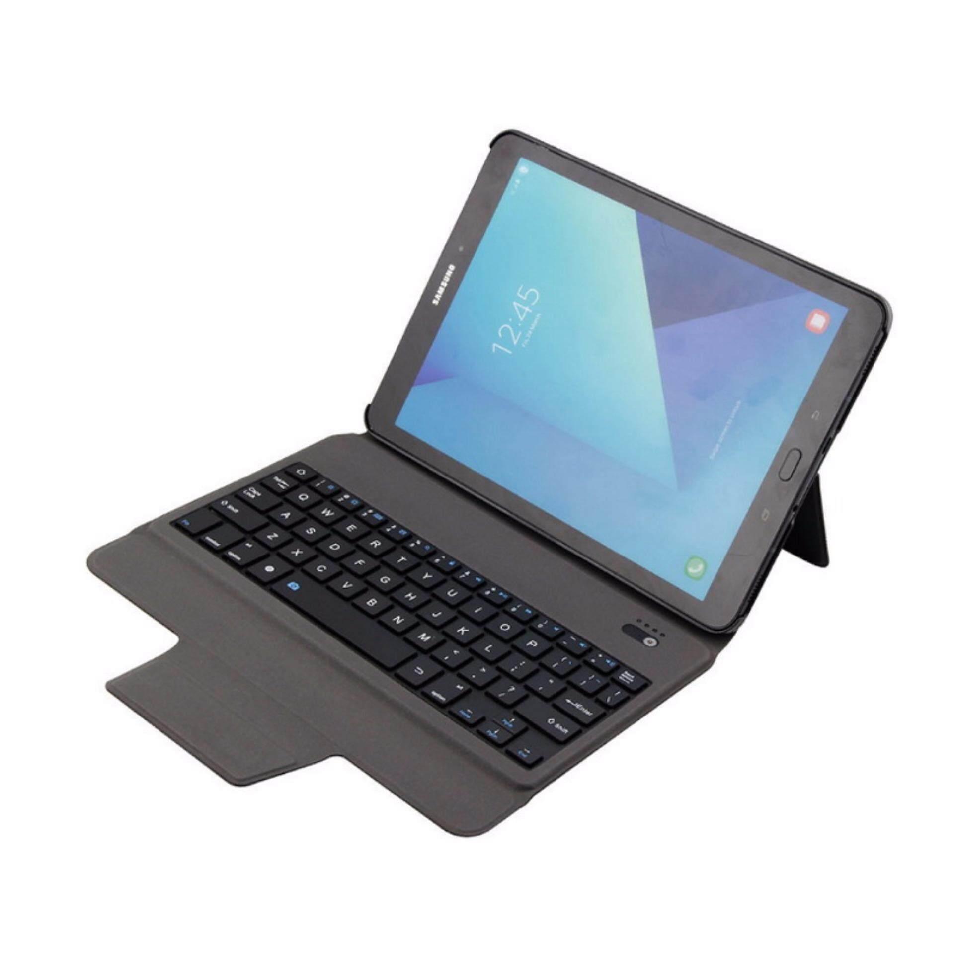 Rongnew Terbaru Ultra Ramping Keyboard Bluetooth dengan Case Kulit Penutup untuk Samsung Galaxy Tab S3 9.7 T820/T825. Emas