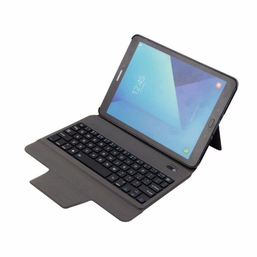 Terbaru Ultra Ramping Bluetooth Keyboard dengan Kulit Case Sarung untuk Samsung Galaksi Tab S3 9.7 T820/T825. Merah Muda-Internasional