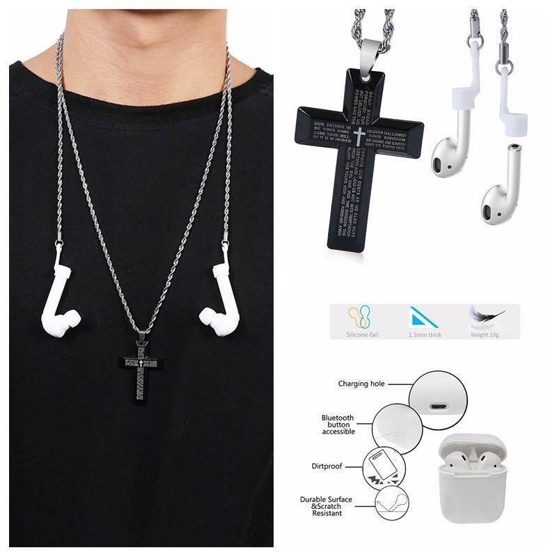 niceEshop AirPods Strap Necklace, 2 In 1 Stainless Steel Anti Lost String With Cross Pendant Lord S Prayer, AirPods Sports Strap Wire Cable Connector For IPhone 7 / IPhone 7 Plus Airpods Singapore