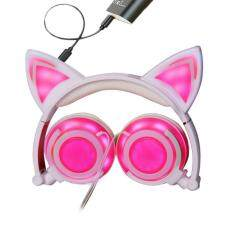 niceEshop Cat Ear Headphones Wired Over-Ear Foldable LED Gaming Flashing Lights Headset With USB