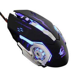 niceEshop Wired LED Light 4000DPI Optical Usb Ergonomic Pro Gamer Gaming Mouse Metal Plate (black) Malaysia