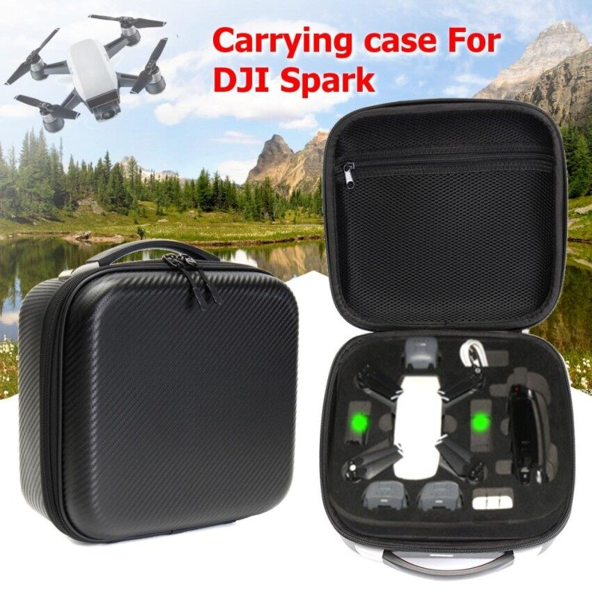 Nicetech Carbon Fiber Portable Waterproof Carrying Case Storage Bag Box For Dji Spark Intl Singapore