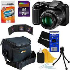 Nikon COOLPIX L340 20.2 MP Digital Camera with 28x Zoom NIKKOR Lens & Full HD 720p Video Recording - Black - International Version (No Warranty) + 7pc Bundle 8GB Accessory Kit w/ HeroFiber Ultra Gentle Cleaning Cloth