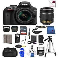Nikon D3400 24.2 MP DSLR Camera (Black) w/ AF-P DX NIKKOR 18-55mm f/3.5-5.6G VR Lens + 55mm Wide Angle Lens + 2x Telephoto Lens + Case + 32GB SD Memory Card + UV + Tripod + Ultimate Accessory Bundle