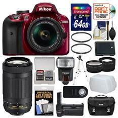 Nikon D3400 Digital SLR Camera & 18-55mm VR DX AF-P Zoom Lens (Red) with 70-300mm Lens + 64GB Card + Case + + Grip + Tripod + Tele/Wide Lenses + Kit