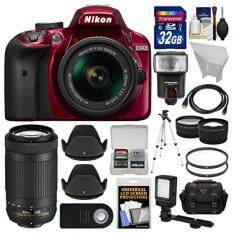 Nikon D3400 Digital SLR Camera & 18-55mm VR (Red) & 70-300mm DX AF-P Lenses with 32GB Card + Case + Flash + Video Light + Tripod + Tele/Wide Lens Kit