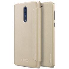 NILLKIN Tipis PU Kulit Lipat Sarung Keras Buah Sampul Belakang Plastik untuk Nokia 8