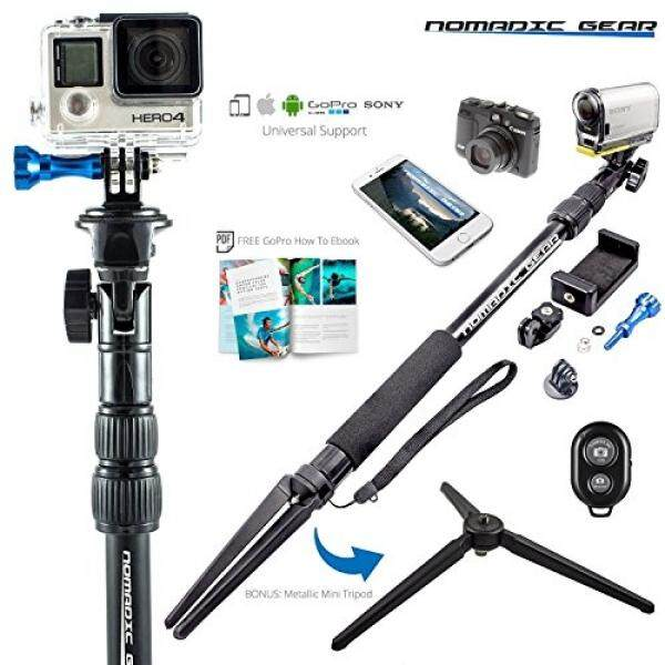 Nomadic Gear Waterproof Selfie Stick and Tripod: Professional Quality, Universal support for GoPro, Sony Action Camera, Garmin, Ricoh Action Cam, SJCAM, iPhone and Android, Free GoPro Ebook Guide! - intl