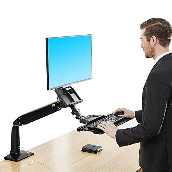 North Bayou Sit Stand Desk Height Adjustable Standing Desk Workstation for 22-35 Monitor Computer Riser Monitor and Keyboard Mounts (Black) - intl