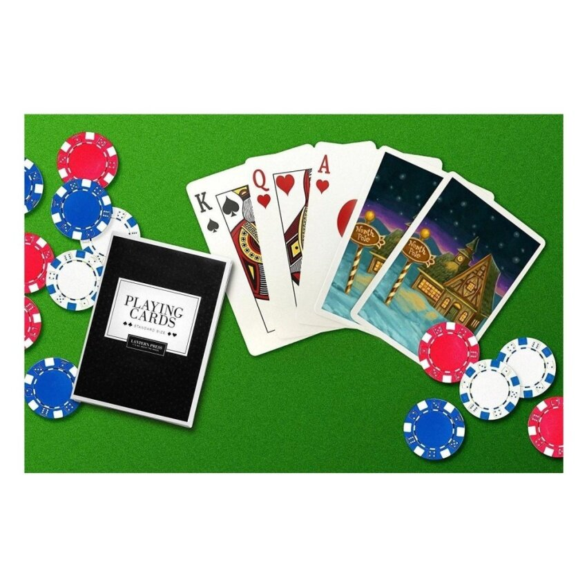 North Pole - Christmas Oil Painting (Playing Card Deck - 52 CardPoker Size with Jokers) - intl
