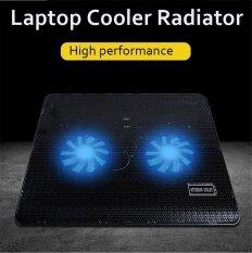 Notebook 2 Fan Radiator Cooling Exhaust Computer Stand Cooler Base Pad Mat USB Black