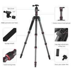 OBO TS360C Foldable Portable Carbon Fiber Camera Tripod Travel Tripod Monopod with B262 Panoramic Ball Head 5 Sections Max Working Height 150cm for Canon Nikon Sony DSLR ILDC Cameras Max Load 10kg