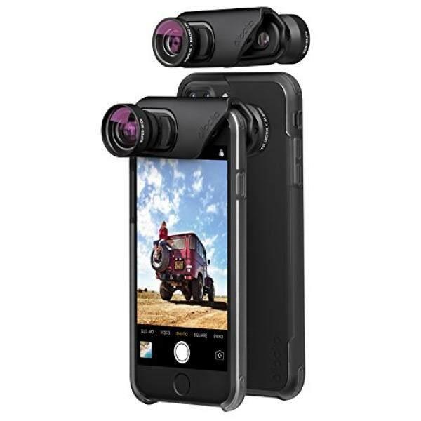 olloclip — CORE LENS SET + OLLO CASE Combo for iPhone 8/8 Plus & iPhone 7/7 Plus — Includes 2 iPhone cases + SUPER-WIDE, FISHEYE & MACRO Premium Glass Lenses — Lens: Black/Black, Cases: Clear - intl