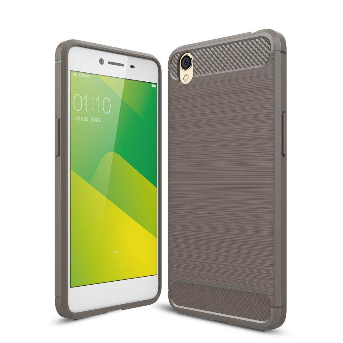 OPPO A37 Carbon Fiber TPU Brushed Texture Shockproof Protective Back Cover Case(Grey) -