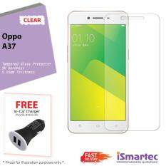 Oppo A37 Tempered Glass Protector 0.26mm + 9H Hardness (HD Clear) + FREE