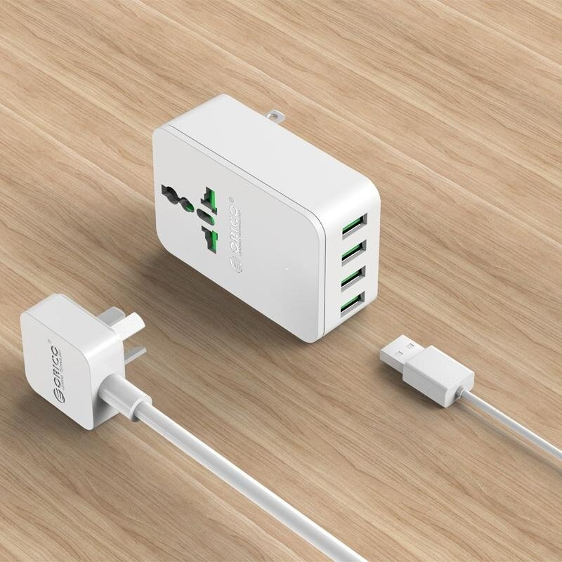 【Free Shipping + Super Deal】ORICO S4U 20W Universal Power Plug Travel Converting Adapter with 4 USB Charging Ports EU