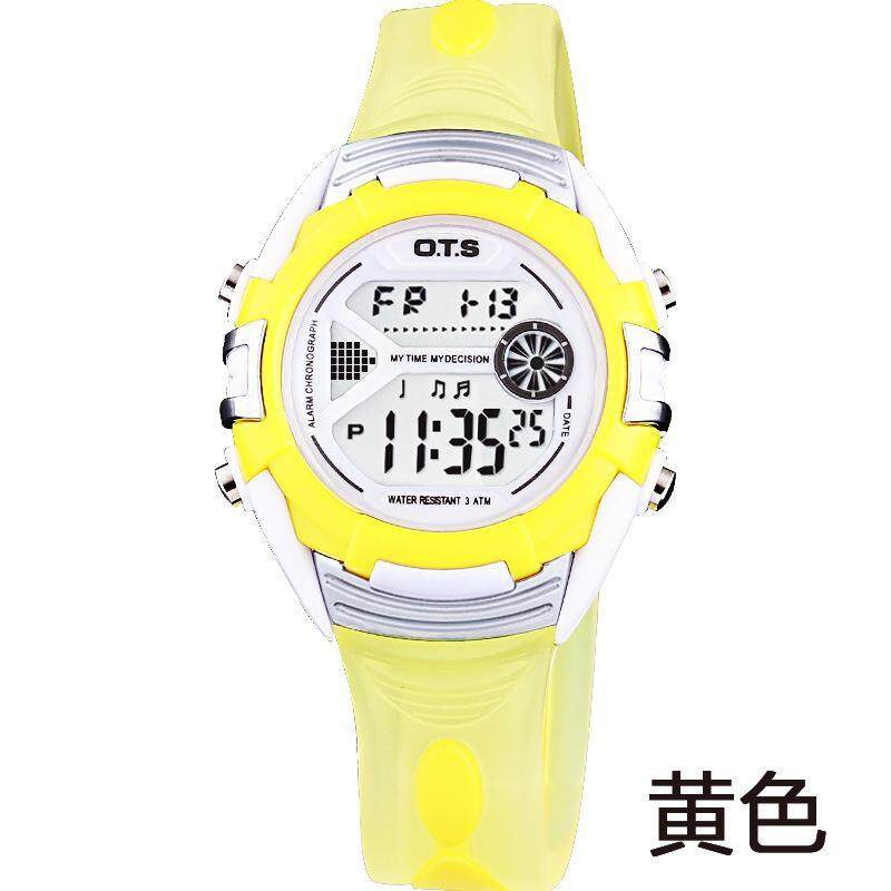 LanJi OTS 6999 Boys Girls Students Wristwatches Children Fashion Casual Digital Watches 50M Waterproof Jelly Kids Watch - Yellow Malaysia
