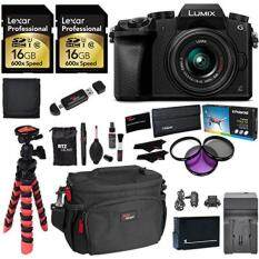 Panasonic LUMIX DMC-G7KK DSLM 4K Camera (Black), 14-42 mm Lens Kit, 16GB 2 Pack, Ritz Gear Tripod, Camera Bag, Cleaning Kit, Card Reader, Filter Kit, , Charger and Accessory Bundle