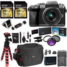Panasonic LUMIX DMC-G7KS DSLM 4K Camera (Silver), 14-42 mm Lens Kit, 16GB 2 Pack, Ritz Gear Tripod, Camera Bag, Cleaning Kit, Card Reader, Filter Kit, , Charger and Accessory Bundle