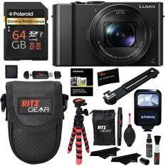 Panasonic LUMIX DMC-LX10K Camera, Polaroid 64GB, Memory Card Wallet, Flash, Ritz Gear Tripod, Cleaning Kit, Case and Accessory Bundle