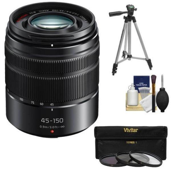 Panasonic Lumix G Vario 45-150mm f/4.0-5.6 OIS Lens (Black) with 3 (UV/CPL/ND8) Filters + Tripod + Accessory Kit for G5, G6, GF5, GF6, GH3, GH4, GM1, GX7 Cameras - intl