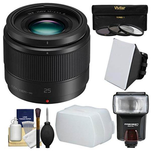 Panasonic Lumix G X 25mm f/1.7 ASPH Lens with Flash + Soft Box + Diffuser + 3 Filters Kit for G6, G7, GF7, GH3, GH4, GM1, GM5, GX7, GX8 Camera - intl