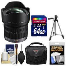 Panasonic Lumix G X Vario 7-14mm f/4.0 ASPH. Zoom Lens with 64GB Card + Case + Tripod + Kit for G6, G7, GF7, GH3, GH4, GM1, GM5, GX7, GX8 Camera