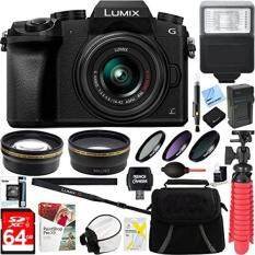 Panasonic LUMIX G7 Interchangeable Lens 4K Black DSLM Camera with 14-42mm Lens + 64GB SDXC Memory Card + Gadget Bag + 52mm Filter Kit + Flash + Microfiber Cloth + Card Reader + Mini Tripod & More