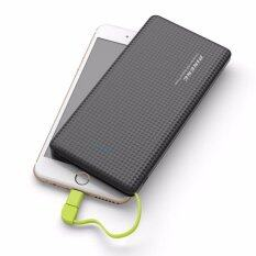 Pineng Pn-951 10000mah Dual Usb Output Fast Charging Ultra Slim Power Bank With Built-In 2in1 Micro Usb And Lightning Cable Support Shake And Charge Feature (black) By Gb Shop.