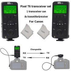 Pixel T6 N3 E3 Kabel FSK 2.4 GHz Tampilan LCD Nirkabel Transceiver Timer Pelepasan Rana Pengendali Jarak Jauh Kompatibel dengan Canon 5D Mark IV 1300D 1100D 1000D 650D 600D 550D 500D 450D 60D Kamera + Inseesi Lensa Kain