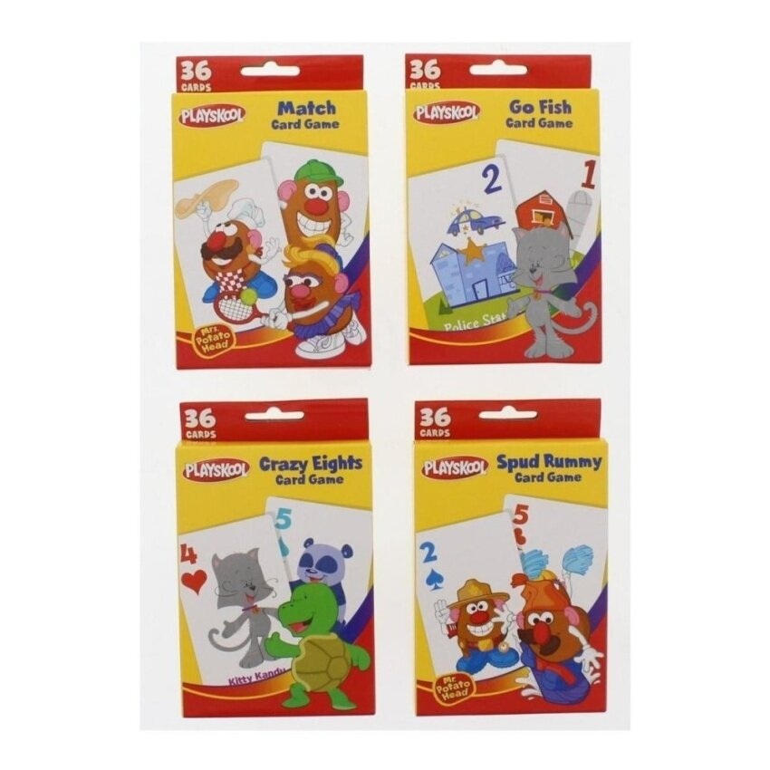 Playskool Card Games - Spud Rummy. Crazy Eights. Go Fish. Matching- 4 Pack - intl